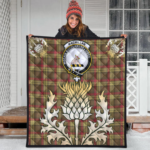 Image of MacMillan Old Weathered Clan Crest Tartan Scotland Thistle Gold Royal Premium Quilt