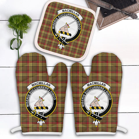 Image of MacMillan Old Weathered Clan Crest Tartan Scotland Oven Mitt And Pot-Holder (Set Of Two)