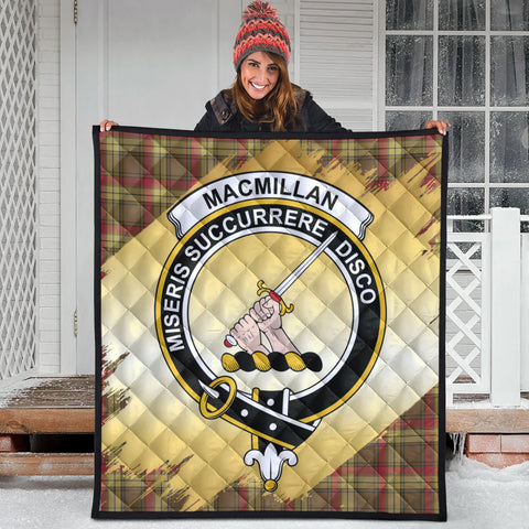 Image of MacMillan Old Weathered Clan Crest Tartan Scotland Gold Royal Premium Quilt