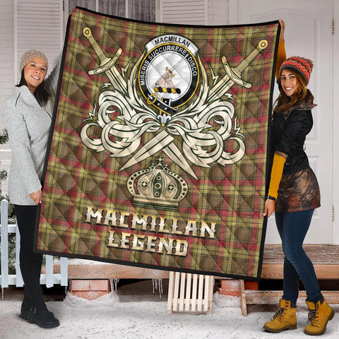 MacMillan Old Weathered Clan Crest Tartan Scotland Clan Legend Gold Royal Premium Quilt K9