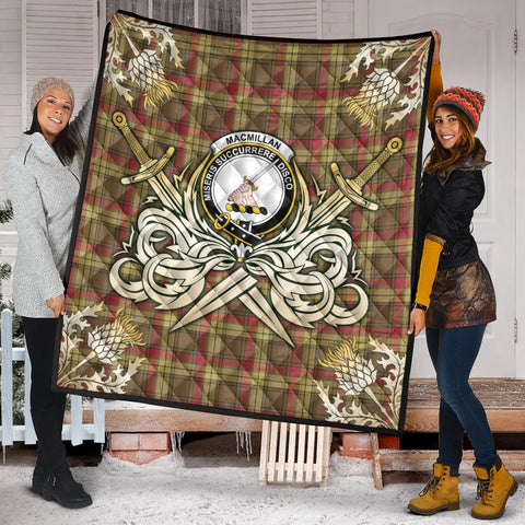 Image of MacMillan Old Weathered Clan Crest Tartan Scotland Thistle Symbol Gold Royal Premium Quilt K9