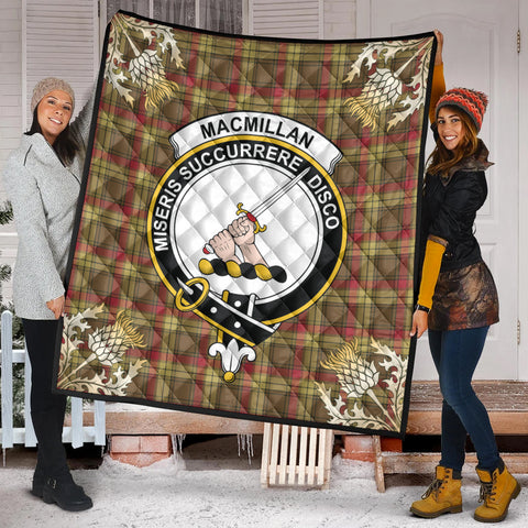 Image of MacMillan Old Weathered Clan Crest Tartan Scotland Thistle Gold Pattern Premium Quilt K9