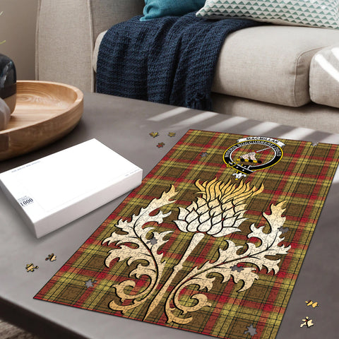 Image of MacMillan Old Weathered Clan Crest Tartan Thistle Gold Jigsaw Puzzle