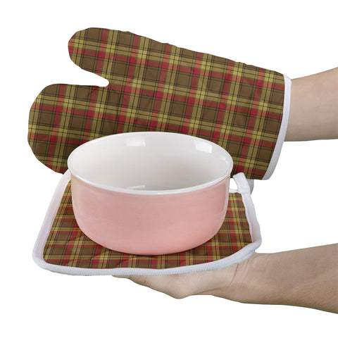 Image of MacMillan Old Weathered Clan Tartan Scotland Oven Mitt And Pot-Holder (Set Of Two)