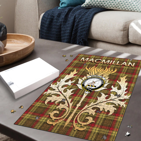 Image of MacMillan Old Weathered Clan Name Crest Tartan Thistle Scotland Jigsaw Puzzle