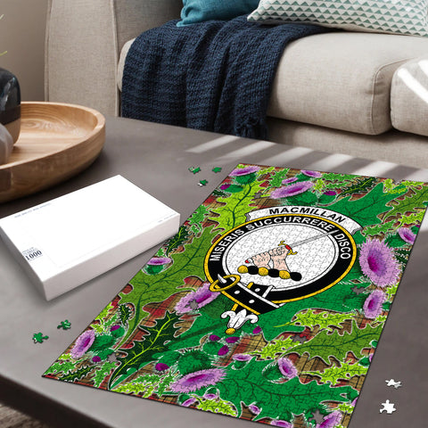 Image of MacMillan Old Weathered Clan Crest Tartan Thistle Pattern Scotland Jigsaw Puzzle