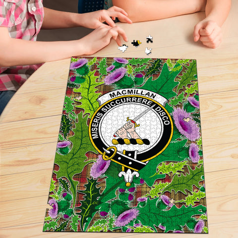 MacMillan Old Weathered Clan Crest Tartan Thistle Pattern Scotland Jigsaw Puzzle