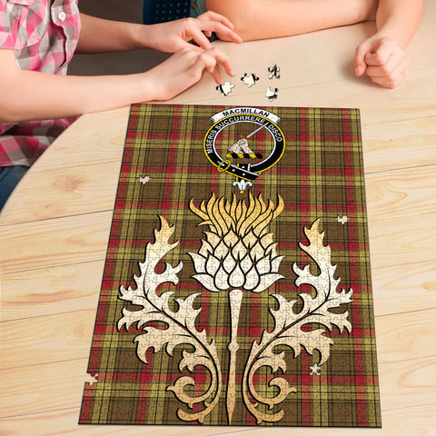 MacMillan Old Weathered Clan Crest Tartan Thistle Gold Jigsaw Puzzle