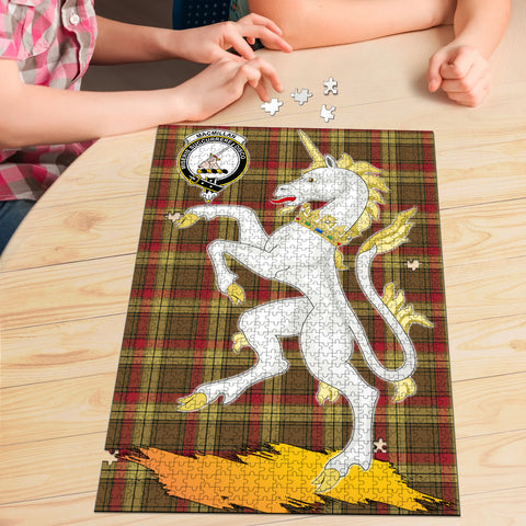 Image of MacMillan Old Weathered Clan Crest Tartan Unicorn Scotland Jigsaw Puzzle