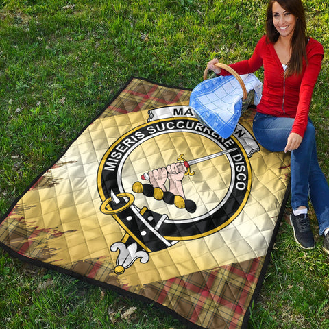 MacMillan Old Weathered Clan Crest Tartan Scotland Gold Royal Premium Quilt K9