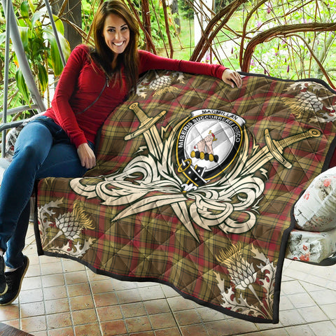 MacMillan Old Weathered Clan Crest Tartan Scotland Thistle Symbol Gold Royal Premium Quilt K9