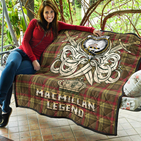 Image of MacMillan Old Weathered Clan Crest Tartan Scotland Clan Legend Gold Royal Premium Quilt K9