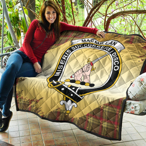 Image of MacMillan Old Weathered Clan Crest Tartan Scotland Gold Royal Premium Quilt K9