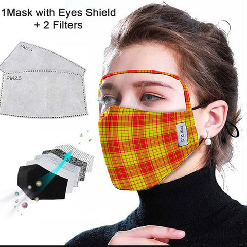 MacMillan Clan Tartan Face Mask With Eyes Shield - Red & Yellow  Plaid Mask TH8