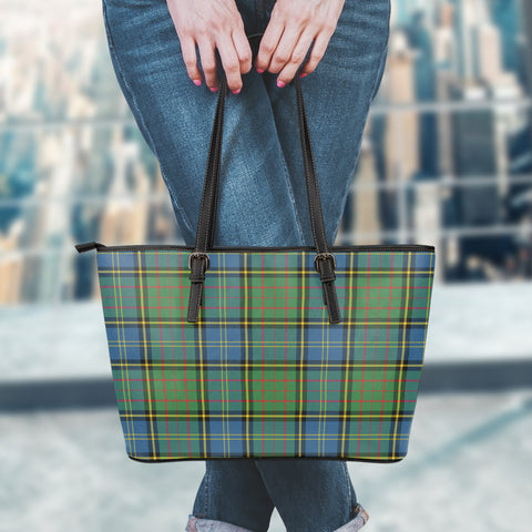 MacMillan Hunting Ancient Tartan Leather Tote Bag (Large) | Over 500 Tartans | Special Custom Design