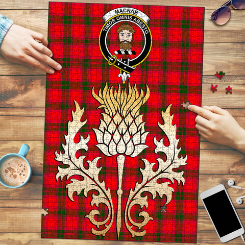 Image of MacNab Modern Clan Crest Tartan Thistle Gold Jigsaw Puzzle