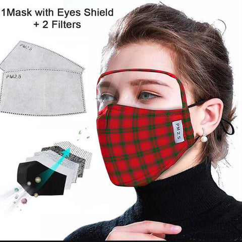 MacNab Modern Tartan Face Mask With Eyes Shield - Red  Plaid Mask TH8