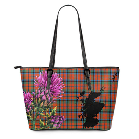 MacNaughton Ancient Tartan Leather Tote Bag Thistle Scotland Maps A91