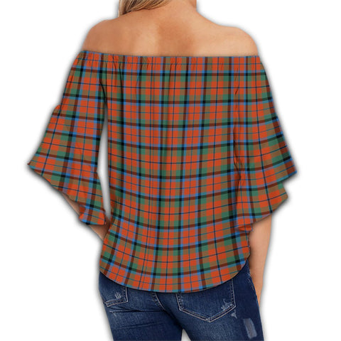 MacNaughton Ancient Tartan Crest Off Shoulders Wrap Waist Top