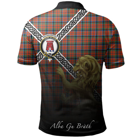MacNaughton Ancient Polo Shirts Tartan Crest Celtic Scotland Lion A30