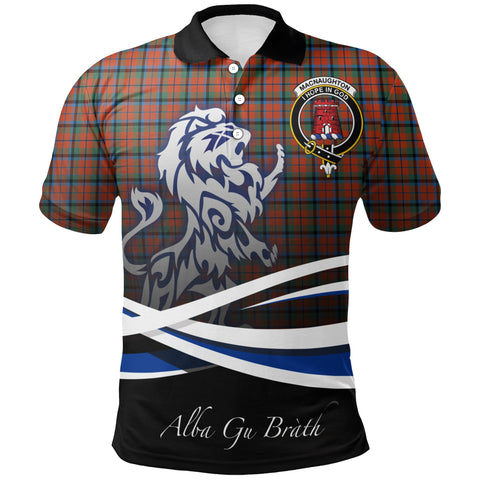 MacNaughton Ancient Polo Shirts Tartan Crest Scotland Lion A30