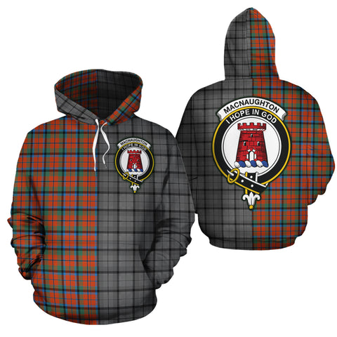 MacNaughton Ancient Clan Half Of Me New Version Crest Tartan Hoodie