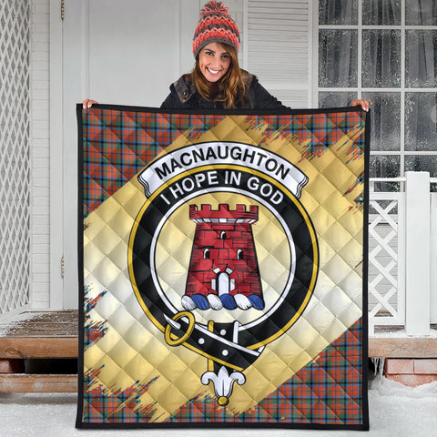 MacNaughton Ancient Clan Crest Tartan Scotland Gold Royal Premium Quilt