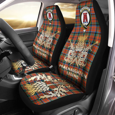 Car Seat Cover MacNaughton Ancient Clan Crest Gold Thistle Courage Symbol
