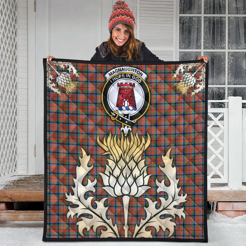 MacNaughton Ancient Clan Crest Tartan Scotland Thistle Gold Royal Premium Quilt