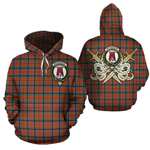 MacNaughton Ancient Clan Crest Tartan Scottish Gold Thistle Hoodie