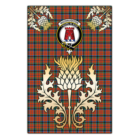 Garden Flag MacNaughton Ancient Clan Crest Gold Thistle