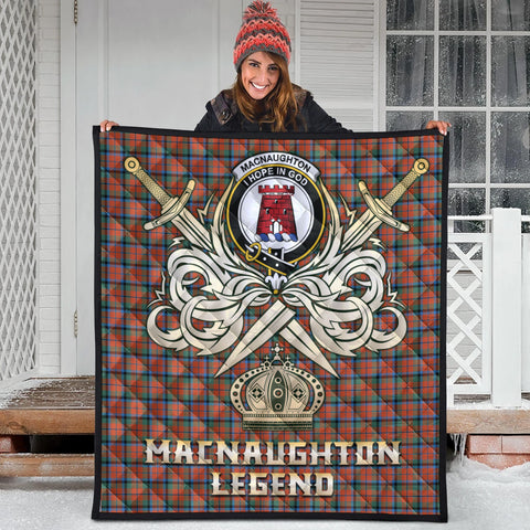 MacNaughton Ancient Clan Crest Tartan Scotland Clan Legend Gold Royal Premium Quilt