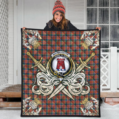 MacNaughton Ancient Clan Crest Tartan Scotland Thistle Symbol Gold Royal Premium Quilt