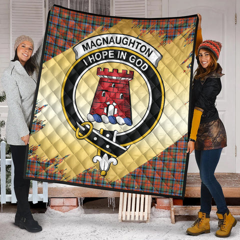 MacNaughton Ancient Clan Crest Tartan Scotland Gold Royal Premium Quilt K9