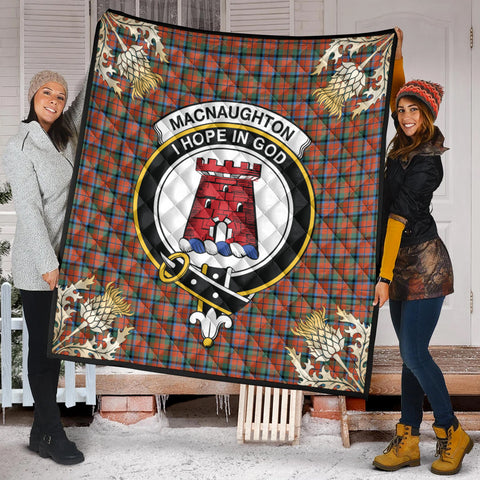 MacNaughton Ancient Clan Crest Tartan Scotland Thistle Gold Pattern Premium Quilt K9