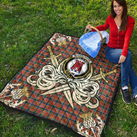 MacNaughton Ancient Clan Crest Tartan Scotland Thistle Symbol Gold Royal Premium Quilt K9
