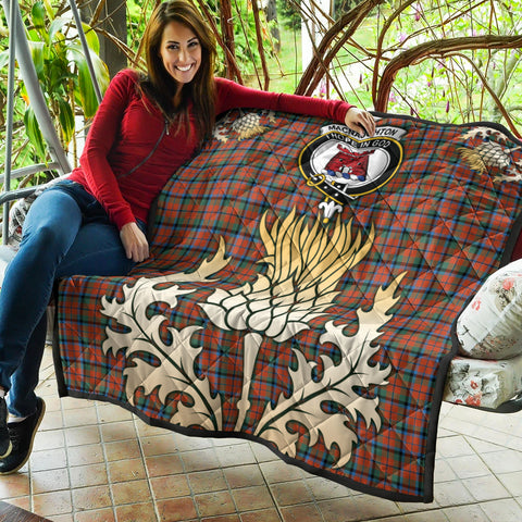 MacNaughton Ancient Clan Crest Tartan Scotland Thistle Gold Royal Premium Quilt K9