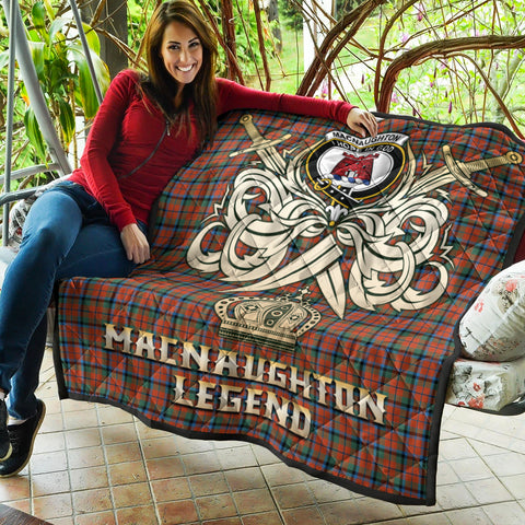 MacNaughton Ancient Clan Crest Tartan Scotland Clan Legend Gold Royal Premium Quilt K9