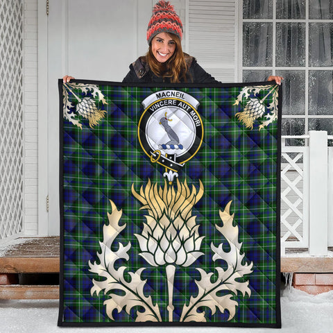 MacNeil of Colonsay Modern Clan Crest Tartan Scotland Thistle Gold Royal Premium Quilt
