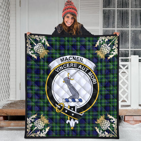 MacNeil of Colonsay Modern Clan Crest Tartan Scotland Thistle Gold Pattern Premium Quilt