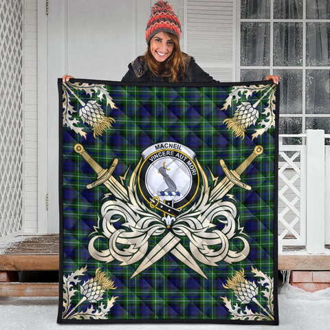 MacNeil of Colonsay Modern Clan Crest Tartan Scotland Thistle Symbol Gold Royal Premium Quilt