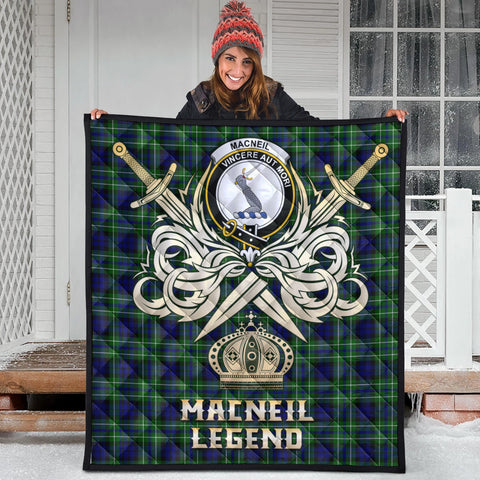 MacNeil of Colonsay Modern Clan Crest Tartan Scotland Clan Legend Gold Royal Premium Quilt