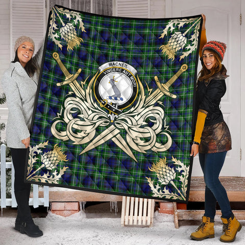 MacNeil of Colonsay Modern Clan Crest Tartan Scotland Thistle Symbol Gold Royal Premium Quilt K9