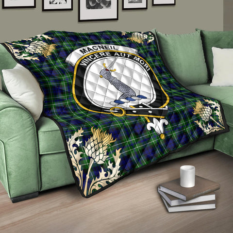 Image of MacNeil of Colonsay Modern Clan Crest Tartan Scotland Thistle Gold Pattern Premium Quilt K9