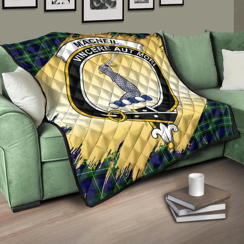 MacNeil of Colonsay Modern Clan Crest Tartan Scotland Gold Royal Premium Quilt K9