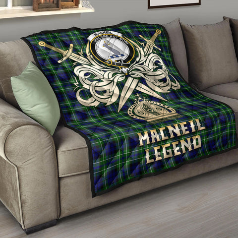 MacNeil of Colonsay Modern Clan Crest Tartan Scotland Clan Legend Gold Royal Premium Quilt K9