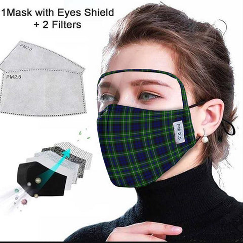 MacNeil of Colonsay Modern Tartan Face Mask With Eyes Shield - Green & Blue  Plaid Mask TH8