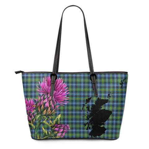 MacNeil of Colonsay Modern Tartan Leather Tote Bag Thistle Scotland Maps A91
