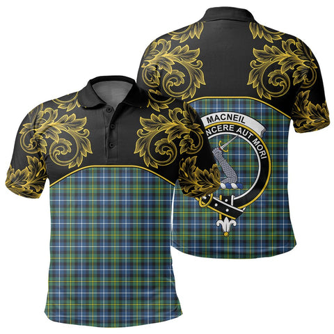 MacNeill of Barra Ancient Tartan Clan Crest Polo Shirt - Empire I - HJT4