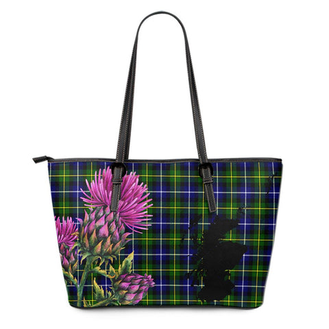 MacNeill of Barra Ancient Tartan Leather Tote Bag Thistle Scotland Maps A91